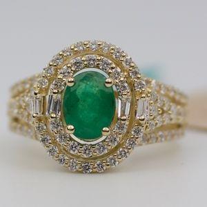 EFFY 14k Yellow Gold Emerald And Diamond Ring